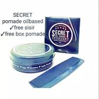 Pomade Secret oilbased 100gram free box dan sisir