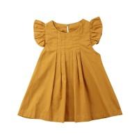ST Dress Princess Lengan Ruffle Bahan Katun untuk Anak Perempuan