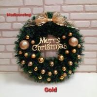 Christmas Krans 45 Cm Dekorasi Hiasan Pintu Daun Lingkar Natal Wreath