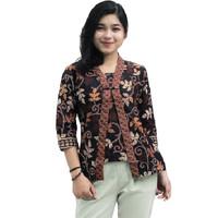 Blouse Batik Wanita _ Atasan Batik Wanita - Kutubaru Lengan 7/8 daun