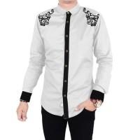 Baju Kemeja Koko Boni Bordir Batik Putih Muslim Pria Lengan Panjang