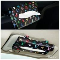 TECHNOZIO Paket Tempat tisu mobil Hitam Motif / Tissue sunvisor mobil
