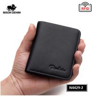 Dompet Pria Kulit Asli Bison Denim Original RFID Mini Tipis - Hitam