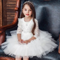 dress natal pesta anak WHITE MARCIA LACE import keren kekinian