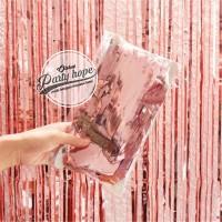 tirai foil rose pink / backdrop rose pink / foil fringe curtain elegan