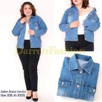 Jaket Jeans Wanita Jumbo XXL fit XXXL warna bio stone