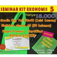 CUSTOM Seminar Kit Enonomis 5 (goodiebag+sertifikat+noteA5+pulpen)