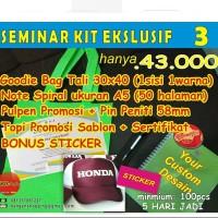 CUSTOM Seminar Kit Ekslusif 3 (goodiebag+note+pin+topi+pen+sertifikat