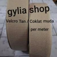 Velcro 5 cm Coklat Muda Per Meter / Perekat Kain Lebar 5 cm per meter