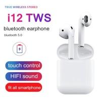Earphone Earbud TWS i12 V5.0 Nirkabel Bluetooth Stereo Smart Touch
