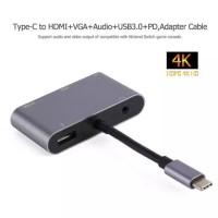 Kabel Converter 4K 2K Type C 5 in 1 to HDMI/VGA/USB/Type C/Audio