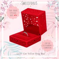 Kotak Cincin Bludru Lamaran Nikah Merah Biru | Velvet Wedding Ring Box - Merah