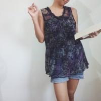 preloved black tulle floral print top / atasan blouse boho look
