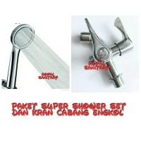 Paket Super Shower Turbo/Hand Shower Hemat Air dan kran Cabang Engkol