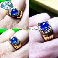 Cincin Blue safir sapphire ceylon batu permata asli natural mewah