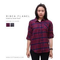 Kemeja Flanel Wanita | RIbca | Cotton Inch - Hitam, L