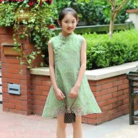 Green Sapphire Qipao / Dress Imlek Anak Murah / Cheongsam Anak Cewe