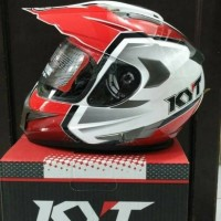 helm KYT ENDURO WHITE red motif supermotto fullface visor merah