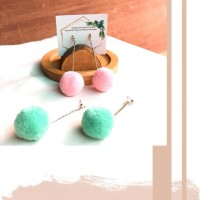 Anting Tusuk Pom Pom Mini Size Bahan Fluffy (pastel color)