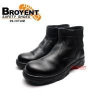 Sepatu Safety Boots Pria Resleting Kulit Sapi Asli Hitam 09
