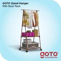 Stand Hanger Triangle Rak Baju Buku Serbaguna dengan 4 Roda Cokelat