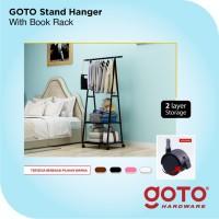 Stand Hanger Triangle Rak Baju Buku Serbaguna dengan 4 Roda Hitam