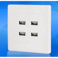 4 USB Port Wall Charger Outlet AC Power Receptacle Socket Plate Panel