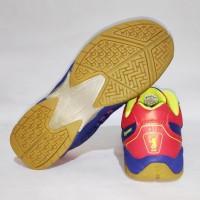 Sepatu Badminton Bulutangkis Flypower DIENG Blue Citrus Red