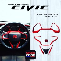 Cover Stir and Spidometer Red Carbon Civic Turbo Sedan and Hatchback