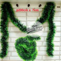 slinger natal hijau daun / hiasan tinsel pohon natal / dekorasi natal