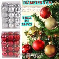 Bola Natal 3 cm - Aksesoris Dekorasi Hiasan Ornamen Pohon Natal