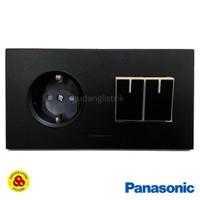 Panasonic Stop Kontak + Saklar 2G Hitam WESJP11212B Style Matte Black