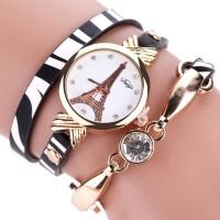 Inner DUOYA DY008 Gold Case Ladies Bracelet Watch Black White