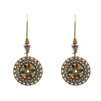 Inner Ethnic Geometric Flower Ear Drop Earring Vintage Gold