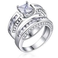 Inner 2 Pcs/set Classic Cubic Zirconia Womens Ring Bridal Wedding