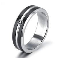 Inner TStainless Steel Black Zircon Diamond Engagement Rings for
