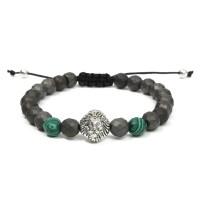 Inner 8mm Green Matte Lion Head Men Bracelet Series Jewelry