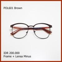 Paket Frame Lensa Minus Kacamata Vintage Besi Bulat pol601 Brown