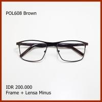 Paket Frame Lensa Minus Kacamata Kotak Besi Logam Vintage pol608 Brown