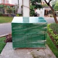 Bak/Tempat Sampah Besi Roda 4 VOL-800L Double Tutup Plat Luar Dalam
