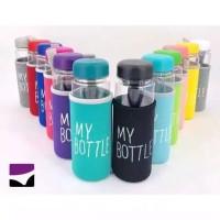 H01.5 NEW Botol Minum My Bottle + Pouch Sarung Busa Bening BPA FREE