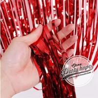 tirai foil merah / backdrop merah / foil fringe curtain natal dekorasi