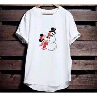 Kaos Natal Minnie with Snowman Christmas size anak dan dewasa S-2XL