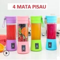 Blender Juice mini USB Shake and Go Blender Portable Recharge 4 pisau - Biru