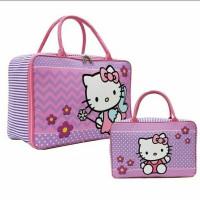 Travel Tas Anak Motif Hello Kitty Flower Bahan Kanvas - Ungu
