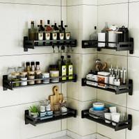 Micoe Rak penyimpanan bumbu dapur dinding stainless steel hitam - 30cm