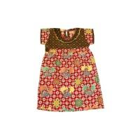 Dress Batik Anak model Sabrina size L/Gaun Anak/Terusan Batik Anak