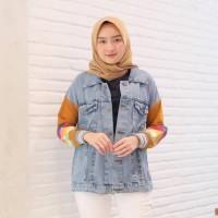 Jaket Jeans Wanita Muslimah Outfit Casual Kuning Rainbow
