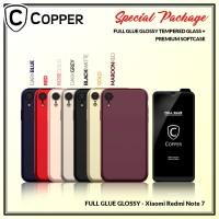 Redmi Note 7 - Paket Bundling Tempered Glass Glossy Dan Softcase