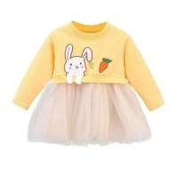 rok dress bayi kelinci kuning tutu cantik